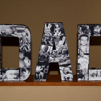 "Custom Photo Letter the word DAD 12"" Paper Mache Father's Day Mother's Day Birthday Decor  in time for Father's Day Custom Picture Photo Art"