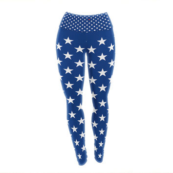 "Bruce Stanfield ""Red Star"" Blue Yoga Leggings"