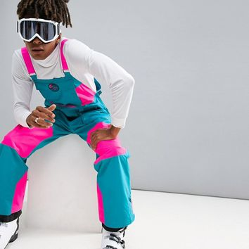 O'Neill Reissue Shred Bib Ski Pants in Blue/Pink at asos.com