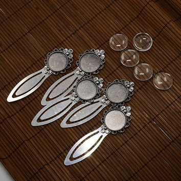 Transparent Clear Domed Glass Cabochon Cover Setting Antique Silver for DIY Metal Bookmark Making Cadmium/Nickel/Lead Free