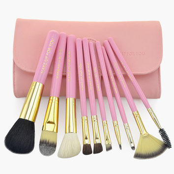 Pink Crocodile Wool 10 Pieces Soft Texture Makeup Brush Sets