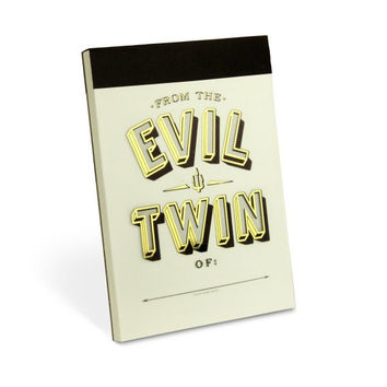 Evil Twin Lined Notepad with Gold Foil Cover