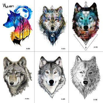 WYUEN Watercolor Wolf Temporary Tattoo Stickers Waterproof Women Fake Hand Animal Tattoos Adult Men Body Art 9.8X6cm A-004