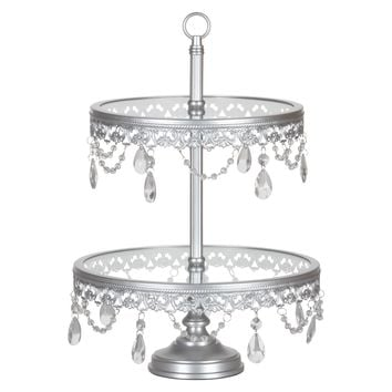 2-Tier Glass Top Crystal Dessert Cupcake Stand (Silver)