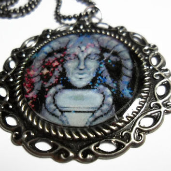 Illusion of Gaia necklace - Dark space pendant on gunmetal ball chain - free size adjustments - video game jewelry - SNES video game