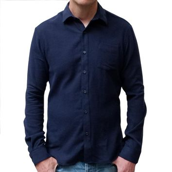 Solid Navy Blue Brushed Cotton Flannel Shirt - Vaughn