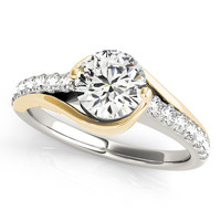 Two Tone Bypass Engagement Ring