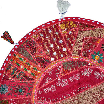 """Red 22"""" Decorative Round Floor Pillow Cushion round embroidered Bohemian Patchwork floor cushion pouf Vintage Indian Foot Stool Bean Bag"""