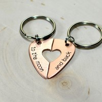 Guitar pick couples keychain or necklace for rocking out the love