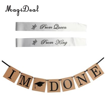 Cool Vintage Graduation Party 3 m I'm Done Cap Bunting Banner Hanging Decoration Graduation Homecoming Prom Queen King SashesAT_93_12