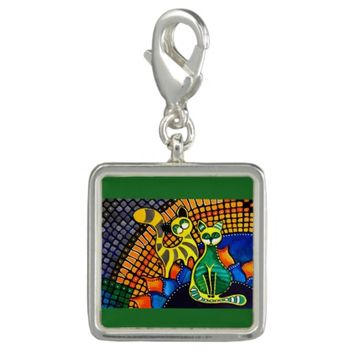 Cheer Up My Friend Colorful Rainbow Cat Design Photo Charm