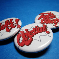 Objections from Phoenix Wright Pinback Button Set