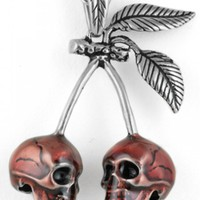 """CHERRY SKULLS"" NECKLACE BY CONTROSE (SILVER)"