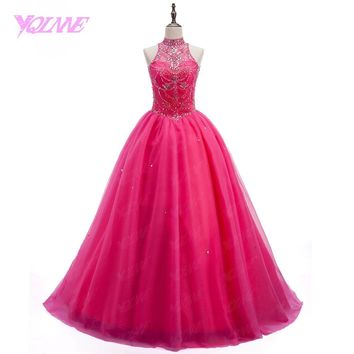 Pink Debutante Crystal Quinceanera Gown