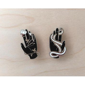 Hands with Snake and Rose Enamel Pins in Set of 2