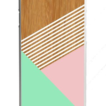 Mint Champagne Pink Striped Wood iPhone 6/6s Case White