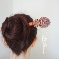 Angel sakura - white kanzashi geisha hair stick