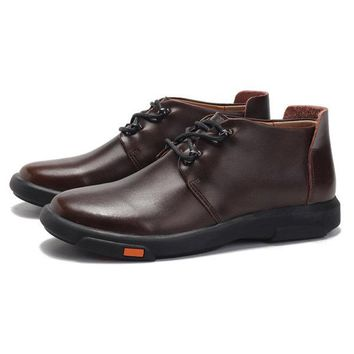 Large Size Men Leather Waterproof Ankle Boots
