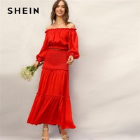SHEIN Boho Red Frill Off Shoulder Smocked Cuff Crop Top and Shirred Panel Frill Trim Maxi Skirt Set Women Summer Two Piece Set