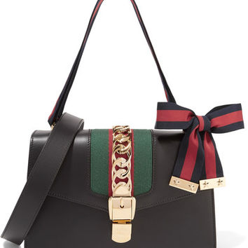 Gucci - Sylvie small chain-embellished leather shoulder bag