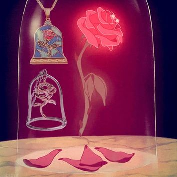 Fashion Jewelry Beauty and the Beast Rose Necklace Pendant