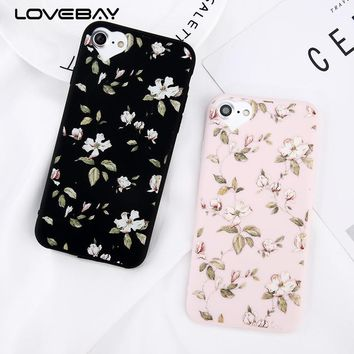 Lovebay Loving Heart Phone Cases For iPhone X 8 7 6 6s Plus 5 5s SE Candy Color Beautiful Flower Soft TPU Back Cover Case Capa