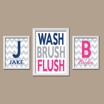Brother Sister Child Name Monogram Initial Bath Navy Blue Hot Pink WASH Brush Flush Chevron Set of 3 Trio Prints WALL ART Boy Girl Bathroom