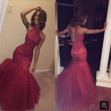 Sexy Long Mermaid Prom Dresses 2016 Cheap Tulle Sequined prom gowns Off the Shoulder beading prom dress Vestidos De Festa
