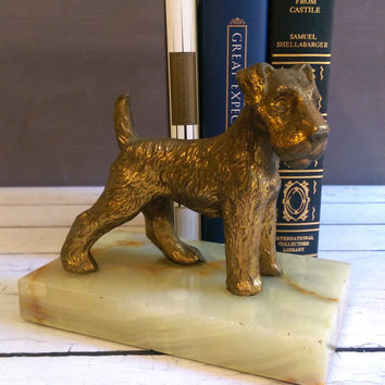 Vintage Dog Bookend/ Vintage Terrier Bookend/ Cast Aluminum Terrier Bookend/ Schnauzer Bookend/ Dog Book End