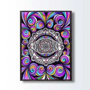 Hippie Bohemian Living Room Wall Decor, Trippy Paisley Purple Drawing,  Zentangle Psychedelic Art Fractals Mandala Drawing, Kids Room decor