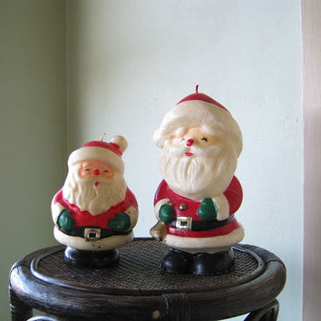 Pair of Vintage Santa Candles; Gold Buckles - Medium & Large Midcentury Christmas/Santa Claus Candles; Gurley Style - Santa with Bell Candle