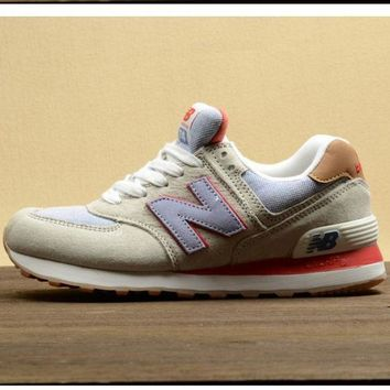QIYIF new balance leisure shoes running shoes men s shoes for women s shoes couples n word beige