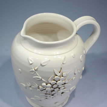 Italian White Ceramic Pitcher Made In Italy Vintage Oriental Inspired White Pitcher