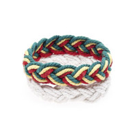 Rope Braided Bracelet Rasta/White