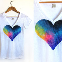 Splash Dyed Hand PAINTED Heart White Burnout Deep by twostringjane
