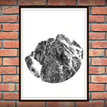 Mountains Print, Geometric Print, Circle Art, Mountain Photography, Circle Print, Printable Wall Art, Black and White Print *138*