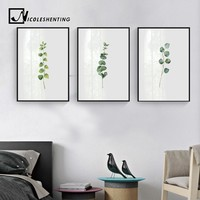 Watercolor Plants Leaves Wall Art Canvas Posters and Prints Minimalist Painting Wall Picture for Living Room Home Decor