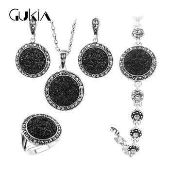 Gukin Black Broken Stone Wedding Jewelry Sets For Women Pendant Statement Necklace Earrings Rings Fine Engagement Jewelry Set