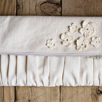 Shabby Chic Ruched Fold-over Clutch, Natural Cream Cotton Color, Crochet Flowers