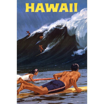 Hawaii Surfing Travel Poster Surfers Catching Big Wave