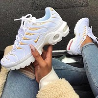 Nike Air Max Plus TN Fashion Running Sneakers Sport Shoes White Gold Line