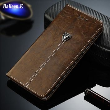 Balleen.E Phone Case For iPhone 8 7 6 6s Plus Luxury Leather Wallet Stand Card Holder Back Cover Cases For iPhone 5 5s 4 Holster