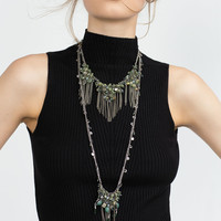 Long multi double-chain necklace