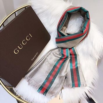 GUCCI Popular Men Women Stripe Silk Scarf Kerchief Cape Scarf Scarves Accessories Grey