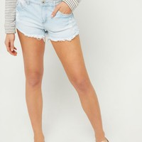 Vintage Wash Mid Rise Frayed Cuff Shorts