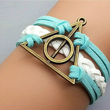 Antique Harry potter Deathly Hallows Bracelet-Bronze Charm Bracelet Light Blue Leather Ropes White  Braided Leather Bracelet  650P