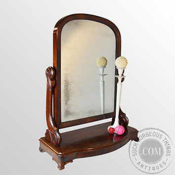 Antique Dressing Vanity Swing Cosmetic Toilet Mirror English Victorian c1870