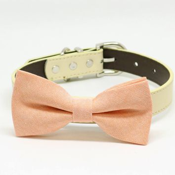 Peach Dog Bow Tie Leather Collar, Pet Wedding Accessory, Puppy Gift, Birthday