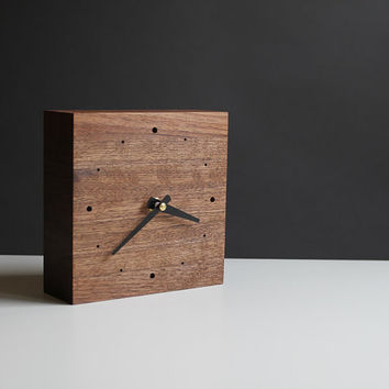 Handcrafted 5.5 in. square desk clock walnut wood with black hands