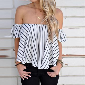 2016 New  Summers Women Off Shoulder Stripe Casual Blouse Shirt Tops